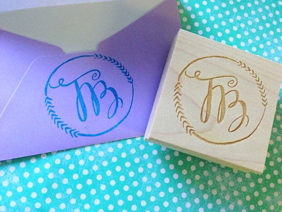 Custom Calligraphy Monogram Stamp By Tresbellestudios On
