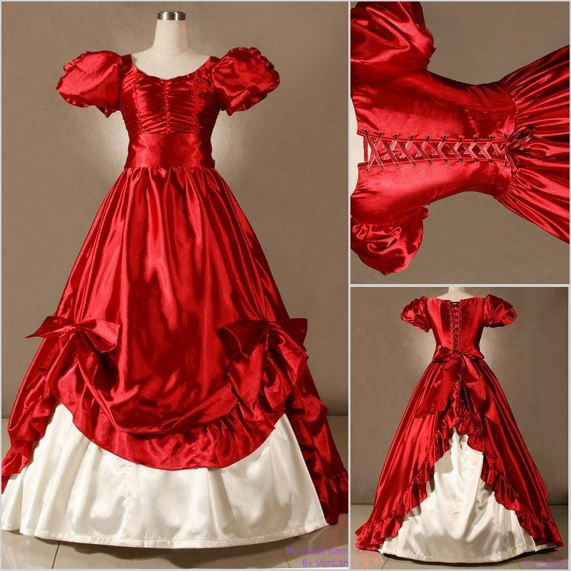 Classic red vintage bowed corset victorian medieval for Victorian corset wedding dresses
