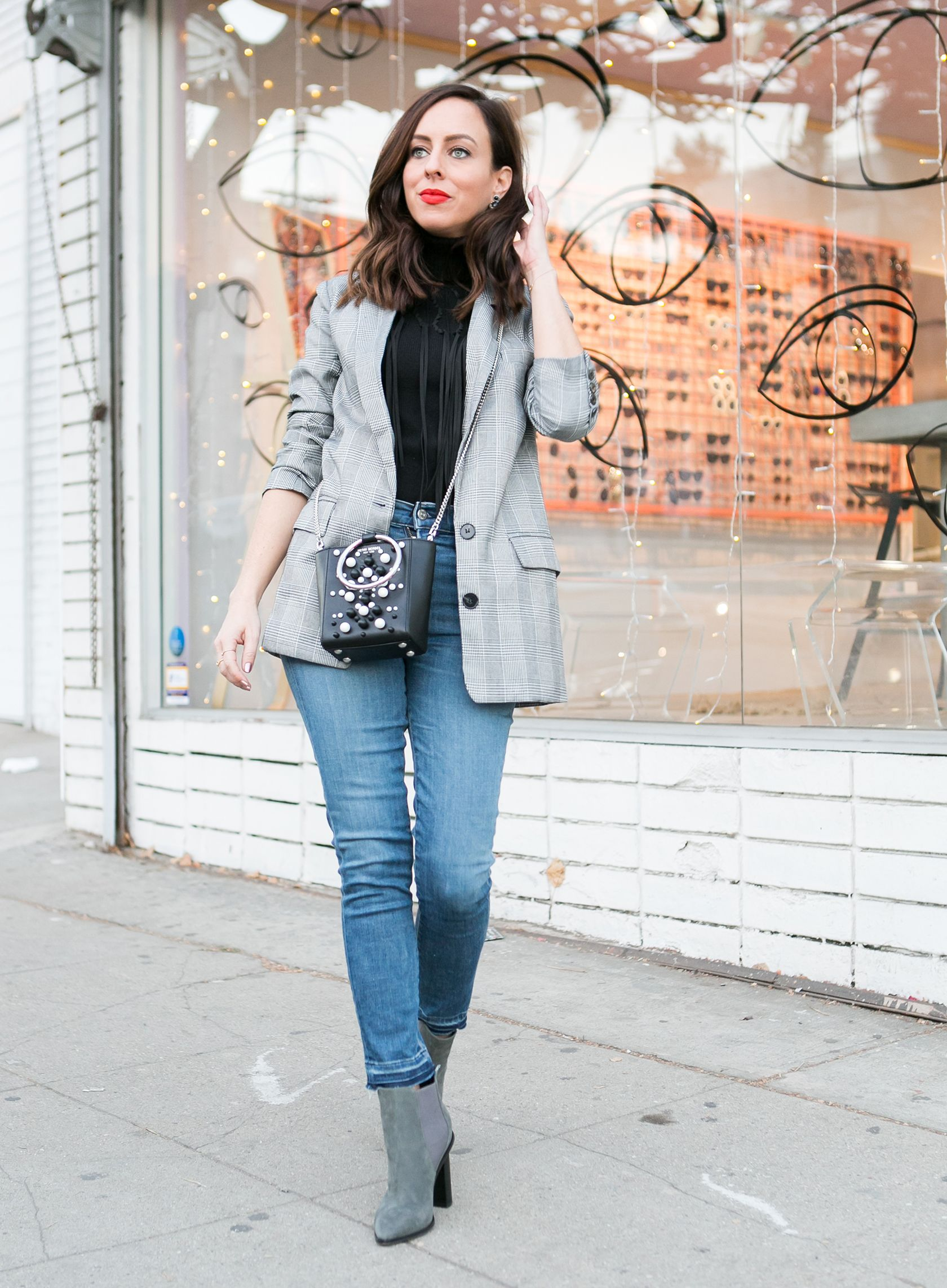 4264a3acf36d Sydne Style shows how to wear the plaid blazer trend with skinny jeans   turtleneck  plaid  blazer  jeans  casualoutfits  booties