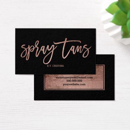 Spray tans logo elegant rose gold typography black business card | Zazzle.com | Maquillaje ...
