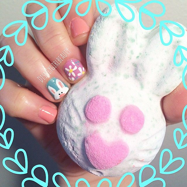 #easternails #nailart All set for Easter tomorrow!  how cute is this #Lush bath bomb?! I did my nails to match too! #happyeaster