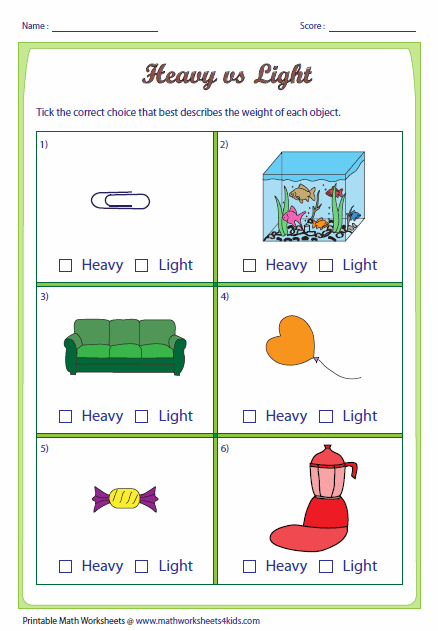 Heavy vs Light: Choose the correct choice that best describes each ...