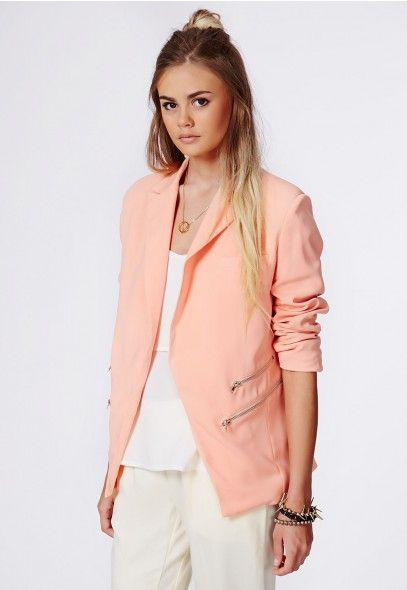 Merkela Zip Detail Blazer - Coats & Jackets - Missguided $33.23