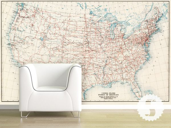US Atlas Map Paper Interiors And Map Wallpaper - Us road map wallpaper