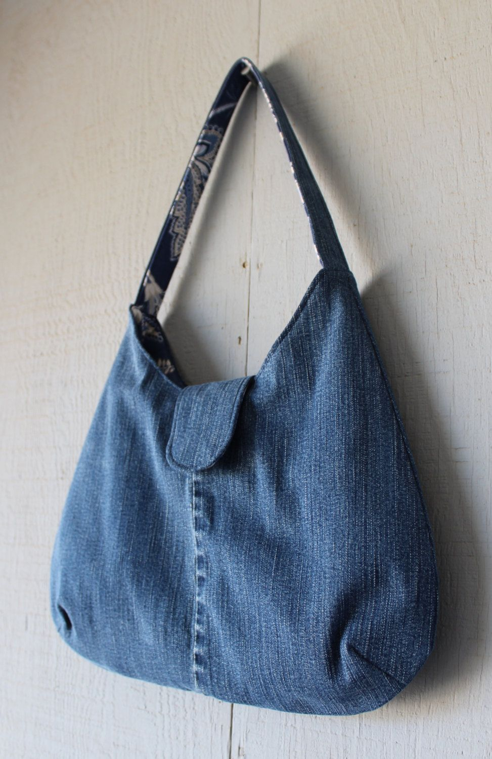 Denim Handbag with Blue Floral Canvas Lining, Front Tab with Magnetic Snap Closure and Two Interior Pockets by AllintheJeans on Etsy