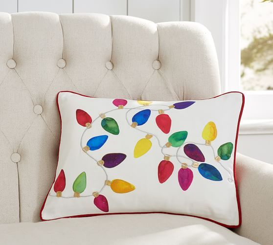 Looking for Christmas pillows and throws for an inviting holiday home? Pottery Barn\u0027s Christmas decor features festive designs perfect for the season. & Christmas Lights Pillow Cover | Pottery Barn- really cute pillow ... pillowsntoast.com