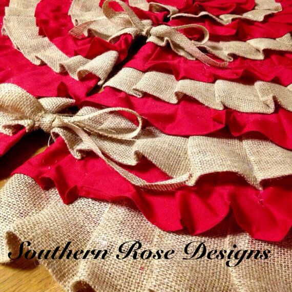 Sewn Red and Burlap 50 Inch Handmade Ruffle Tree Skirt Party
