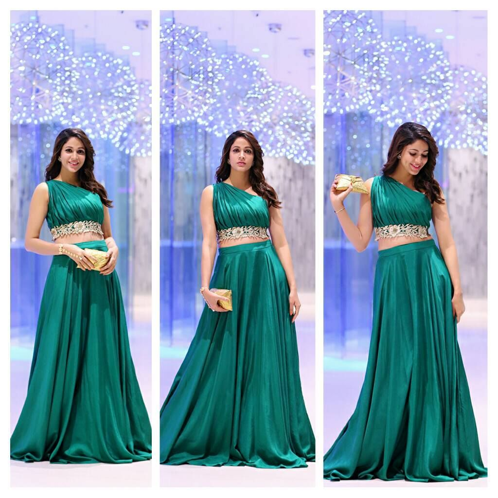 Lavanya Tripathi in emerald green long skirt and crop top at Sakshi Excellence Awards.
