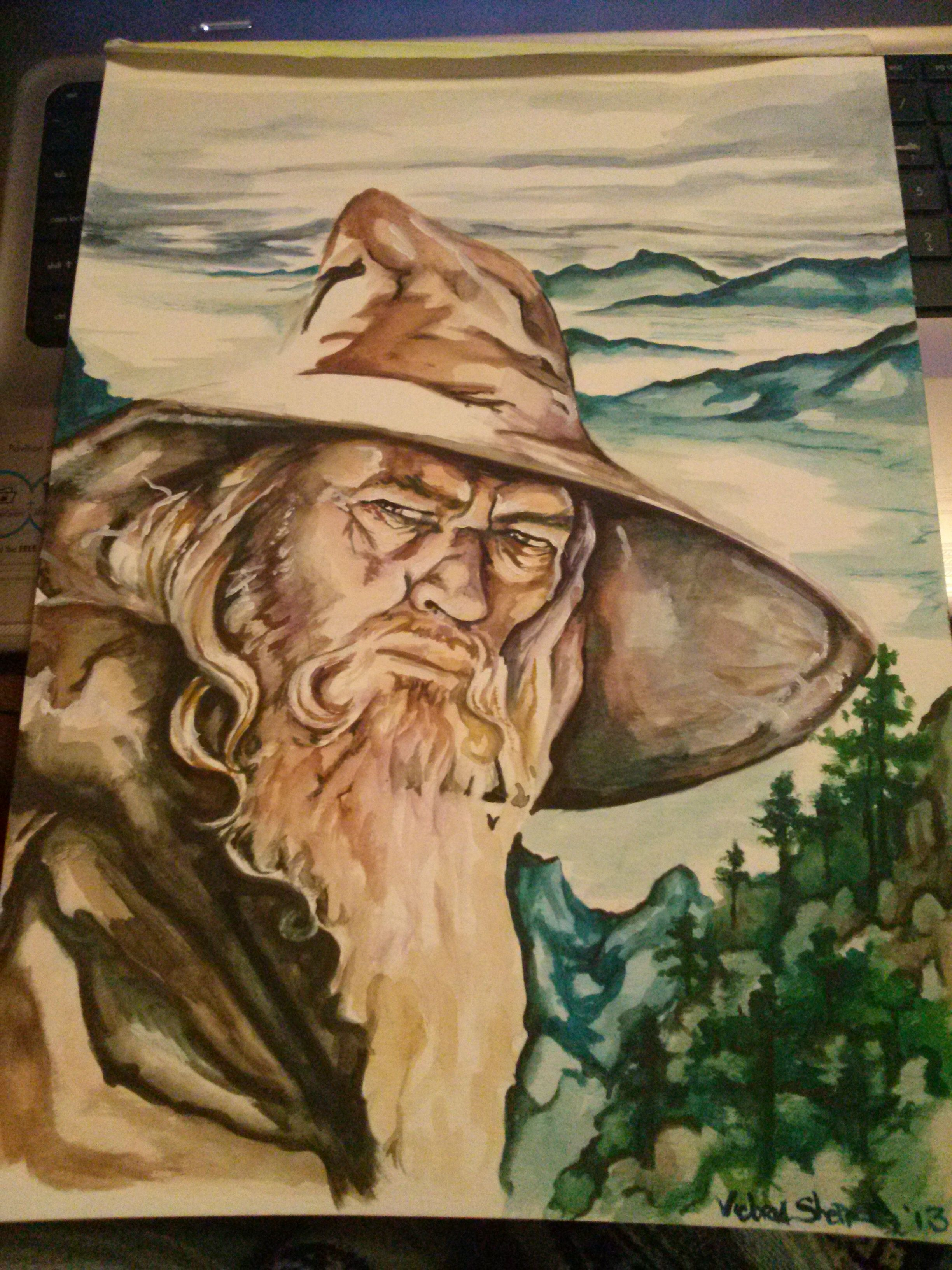 Gandalf the Grey Lord of the Rings watercolor painting   Tolkien ...