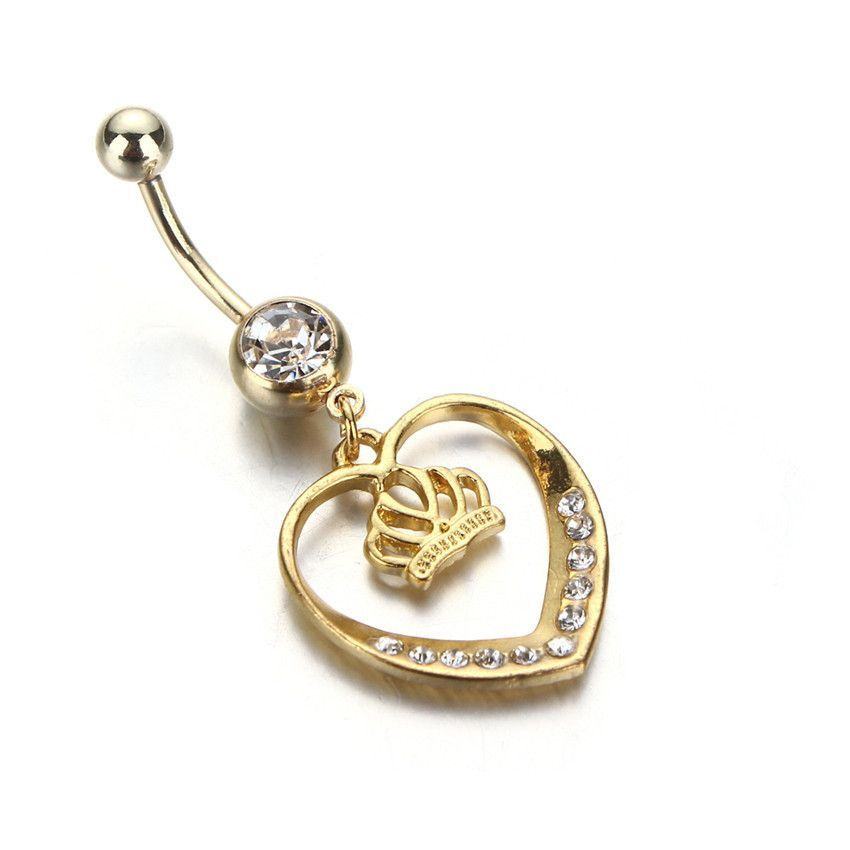 14Kt Gold Plated Queen of Hearts Dangle Belly Button Navel Ring