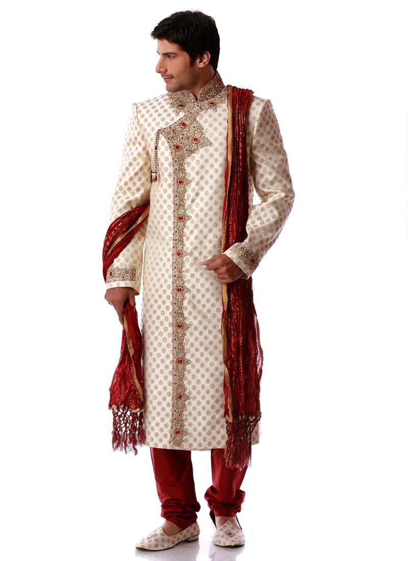 White u red wedding sherwani for men sherwani nawat