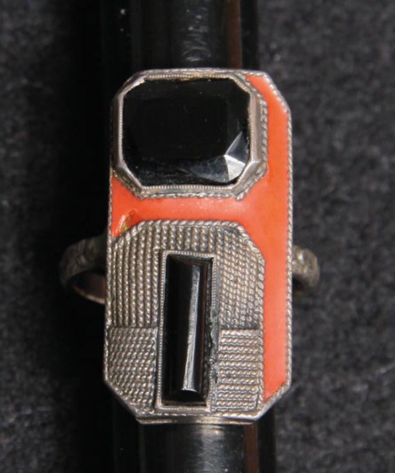 Fahrner onyx matte red enamel ring