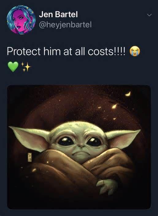 Twitter Showers The Mandalorian S Baby Yoda With Amazing Fan Art Twitternewsletter Twitternewsfeed Twitternewssocialmedia Ne Yoda Art Yoda Drawing Fan Art