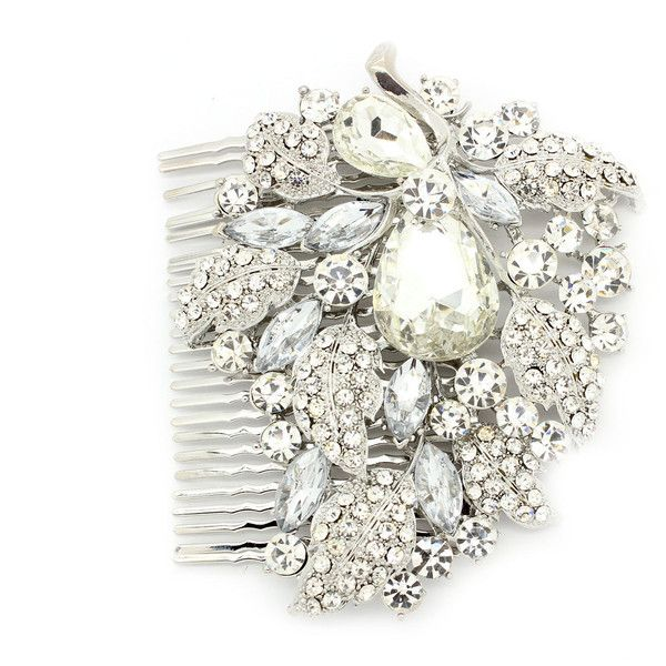 Silver Encrusted Diamante Vintage Crystal Stone Jewel Gem Hair Com... ($35) ❤ liked on Polyvore featuring accessories, hair accessories, decorative combs, silver, jeweled hair accessories, crystal hair accessories, vintage hair combs, vintage fascinators and fascinator hat