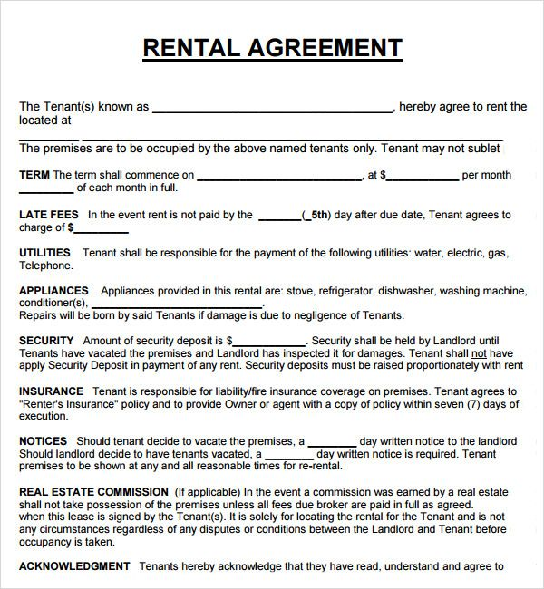 Image Result For House Rental Agreement Rental Agreement