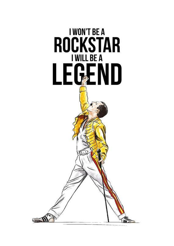 I Won't Be A RockStar, I Will Be A Legend, Freddie Mercury, Queen, Gift Idea, Illustrations, Typography, Print Poster, Wall Art Decor #freddiemercury