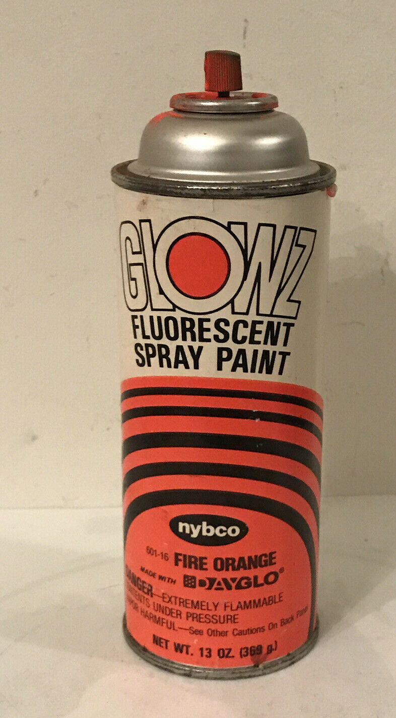 Vintage Nybco Spray Paint Can Glowz Fluorescent Fire Orange Dayglo W Paper Label Ebay Spray Paint Cans Fluorescent Spray Paint Neon Spray Paint