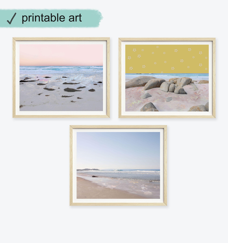 Set Of 3 Coastal Wall Art Ocean Print Set Abstract Seascape