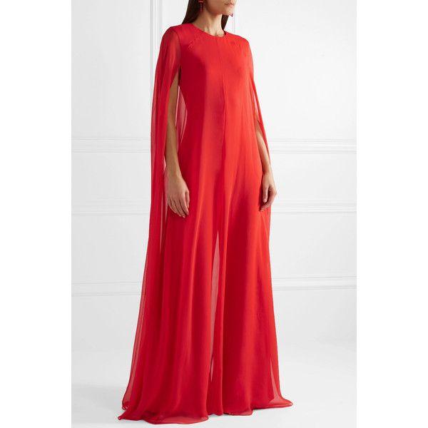 928d4d3f1ea Reem Acra Cape-effect silk-chiffon jumpsuit ( 3