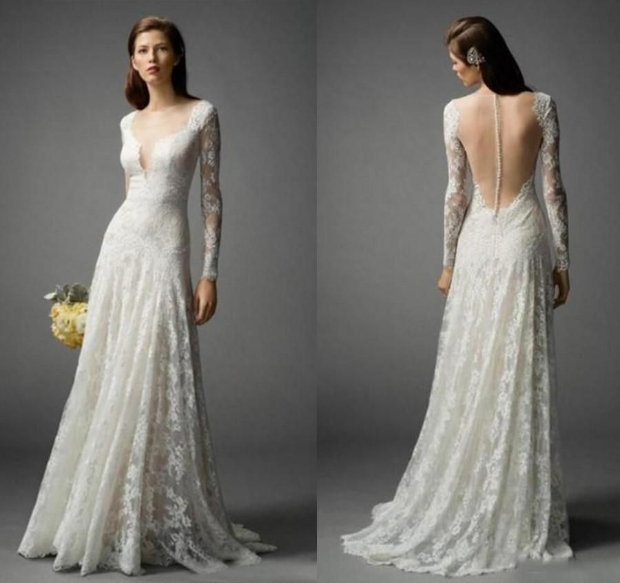 Trendy Long Sleeve Bohemian Wedding Dresses Lace Floor Length Boho Summer V Neck Sheer Bridal