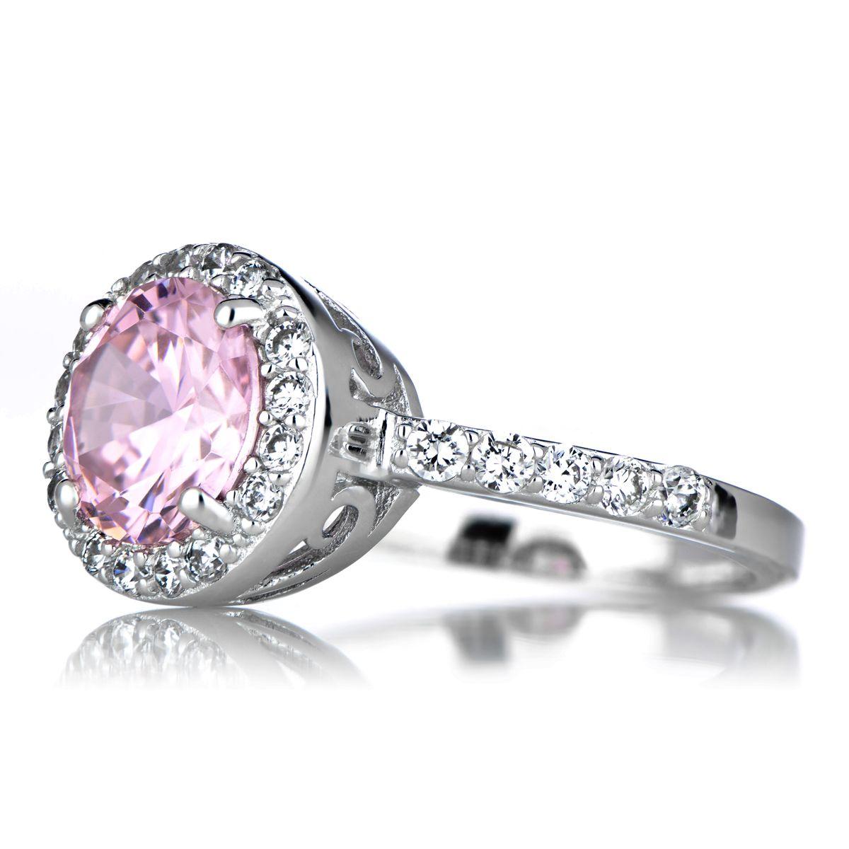 Sterling Silver October Birthstone Ring Pink Cz