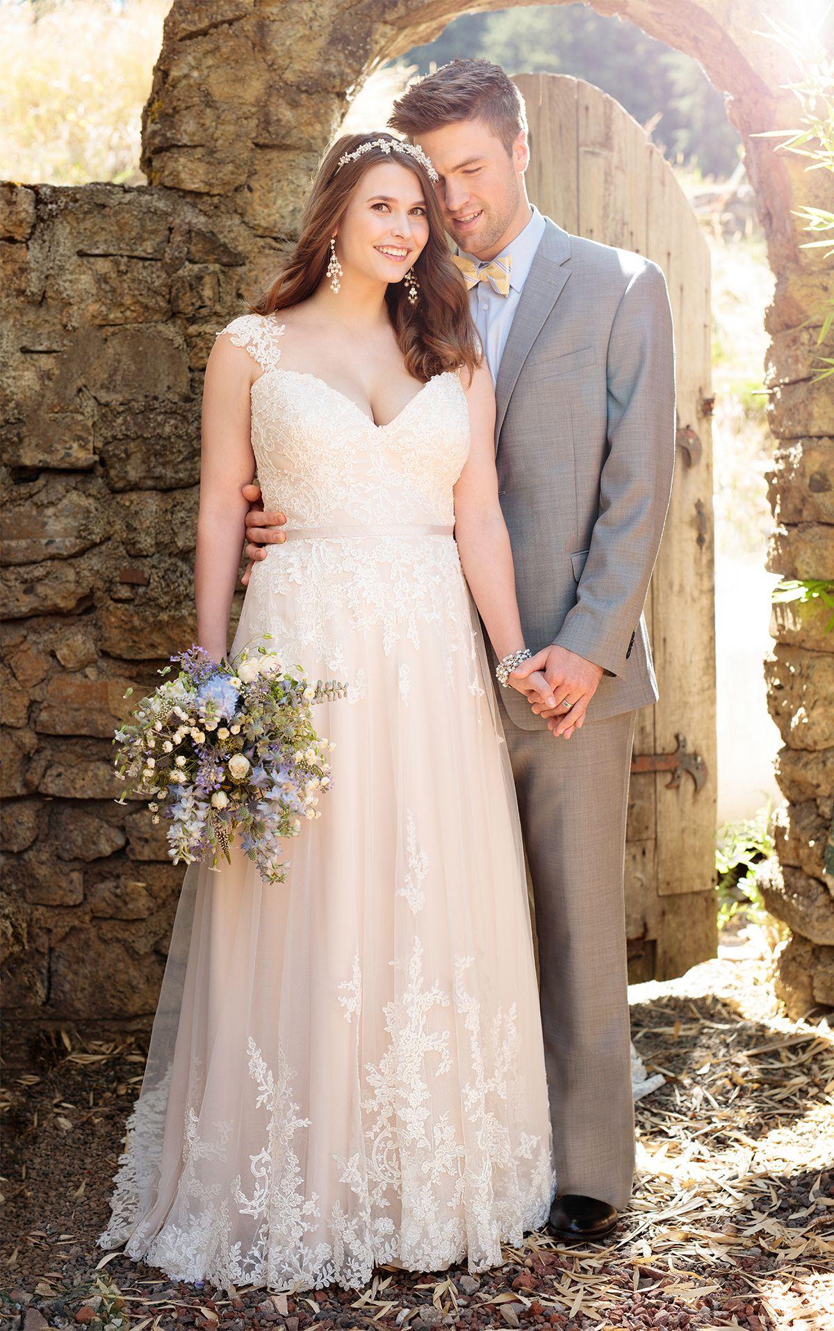 16e69c6f413 Essense of Australia s lace over matte-side Lustre satin A-line wedding gown  features sparkling beading