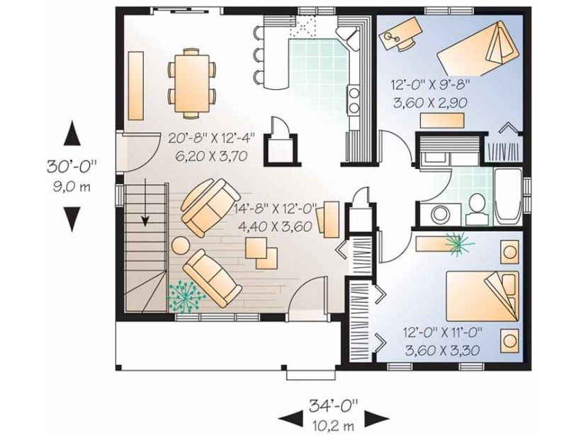 inspiring 2 bedroom house floor plans level 1 view expanded size - Housing Plans