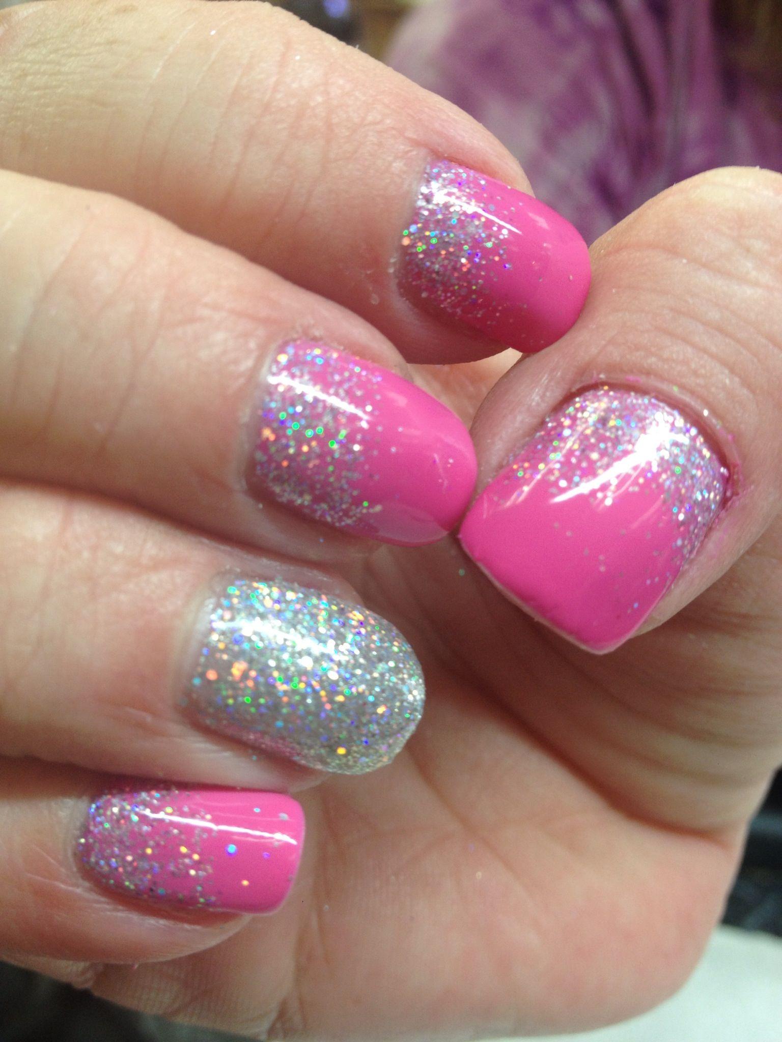 CND Shellac pink glitter reverse French | Nail Art | Pinterest