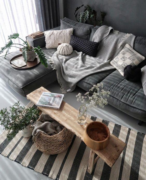 graues Wohnzimmer / #interior #design #interiordesigntips