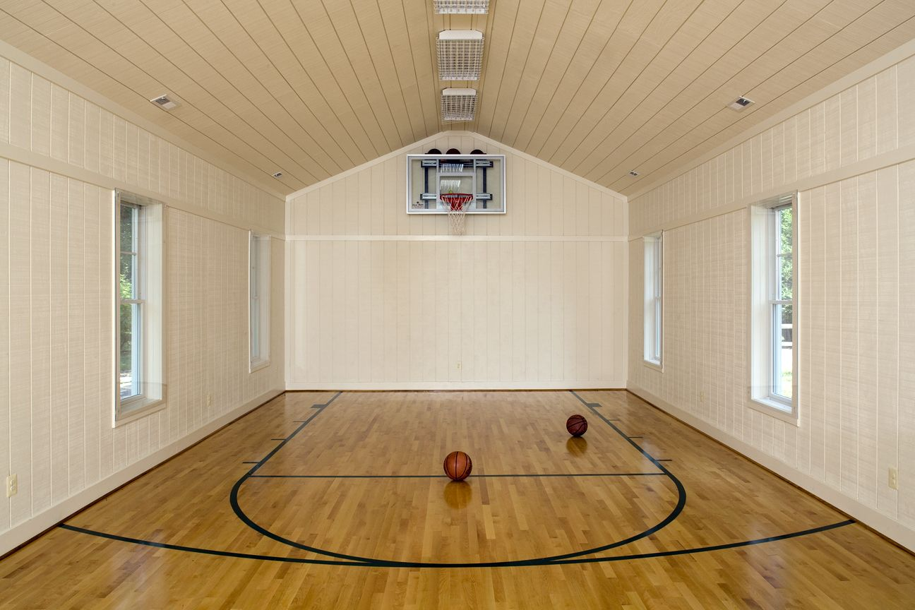 Barn conversion to play place basketball man cave for Home indoor basketball court cost