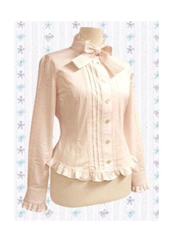 Long Sleeves Pink Cotton Lolita Blouse Lolita Clothing with Stand Collar