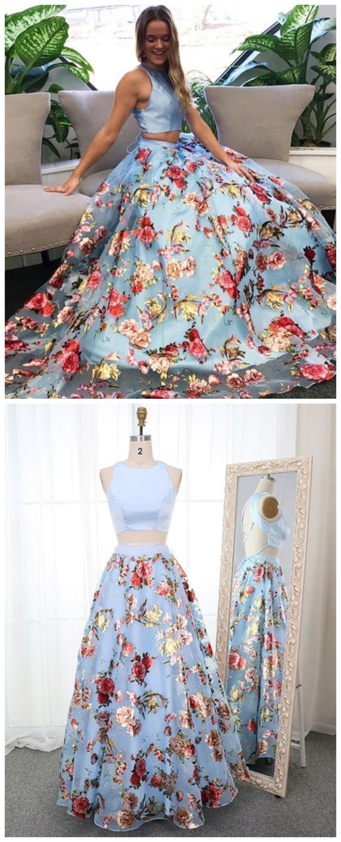 Two Piece Round Neck Sweep Train Blue Floral Organza Prom Dress Prom Dresses For Teens Prom Dresses Two Piece Elegant Dresses For Women [ 1702 x 690 Pixel ]