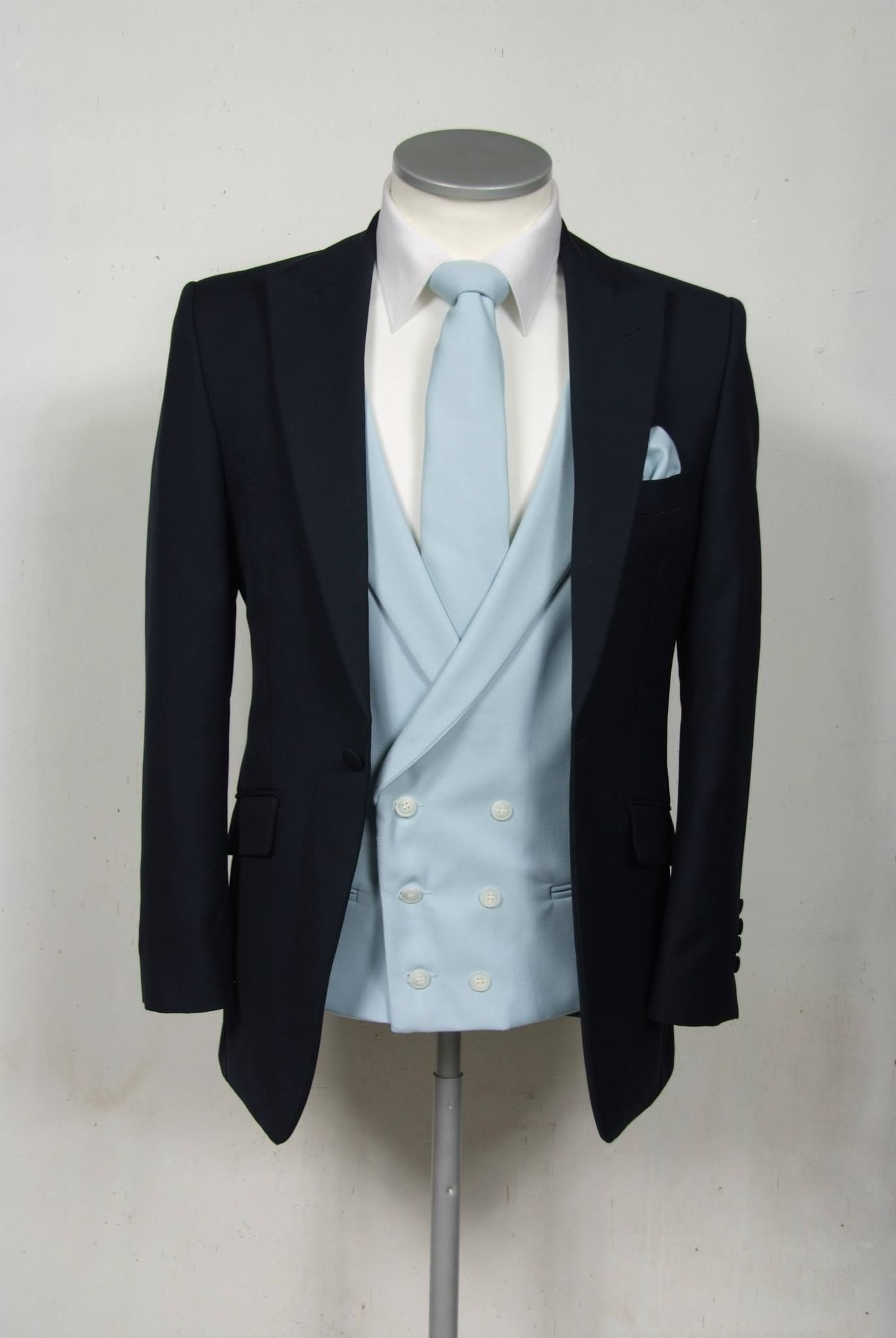 Royal blue slim fit suit with sky wool double breasted waistcoat and ...