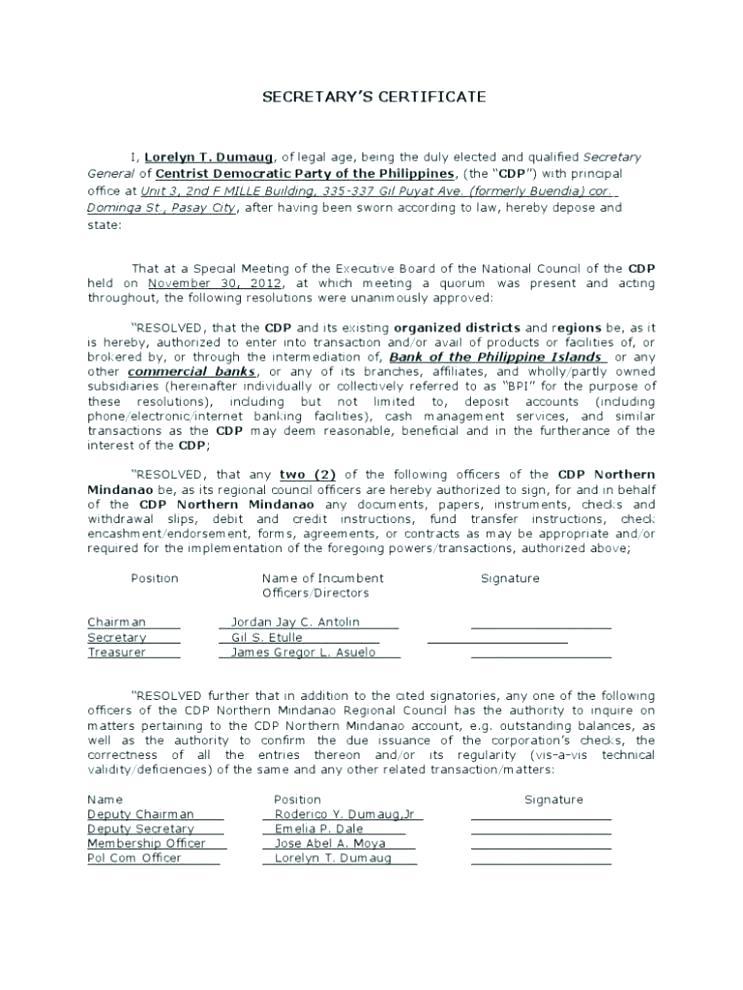 Corporate Secretary Certificate Template 5 Templates Example Templates Example Certificate Templates Best Templates Professional Templates