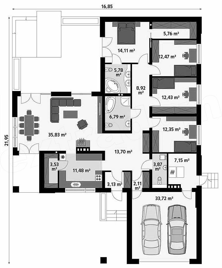 Casa in forma de T, fara etaj, cu 4 dormitoare si garaj planuri