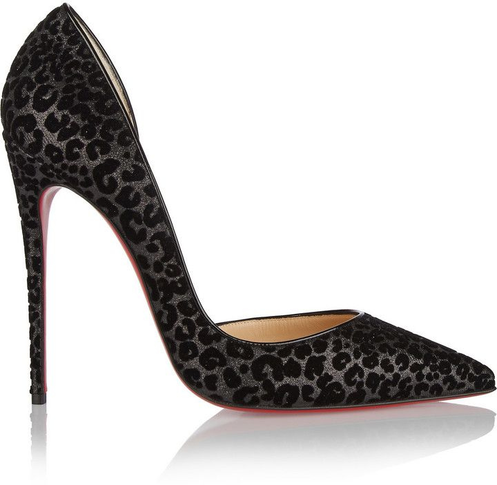 Christian Louboutin Iriza 120 flocked glittered leather pumps, Christian Louboutin's leather 'Iriza' pumps are coated in black glitter and punctuated with flocked velvet to create a leopard-print motif. This classic point-toe design is finished with the brand's signature red soles. Wear yours with everything from party dresses to tailored separates