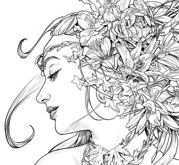 Portrait liberty , Art Nouveau, coloring page, Premium