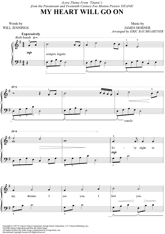 My Heart Will Go On Sheet Music by Celine Dion : Sheet music, Pianos and Piano music