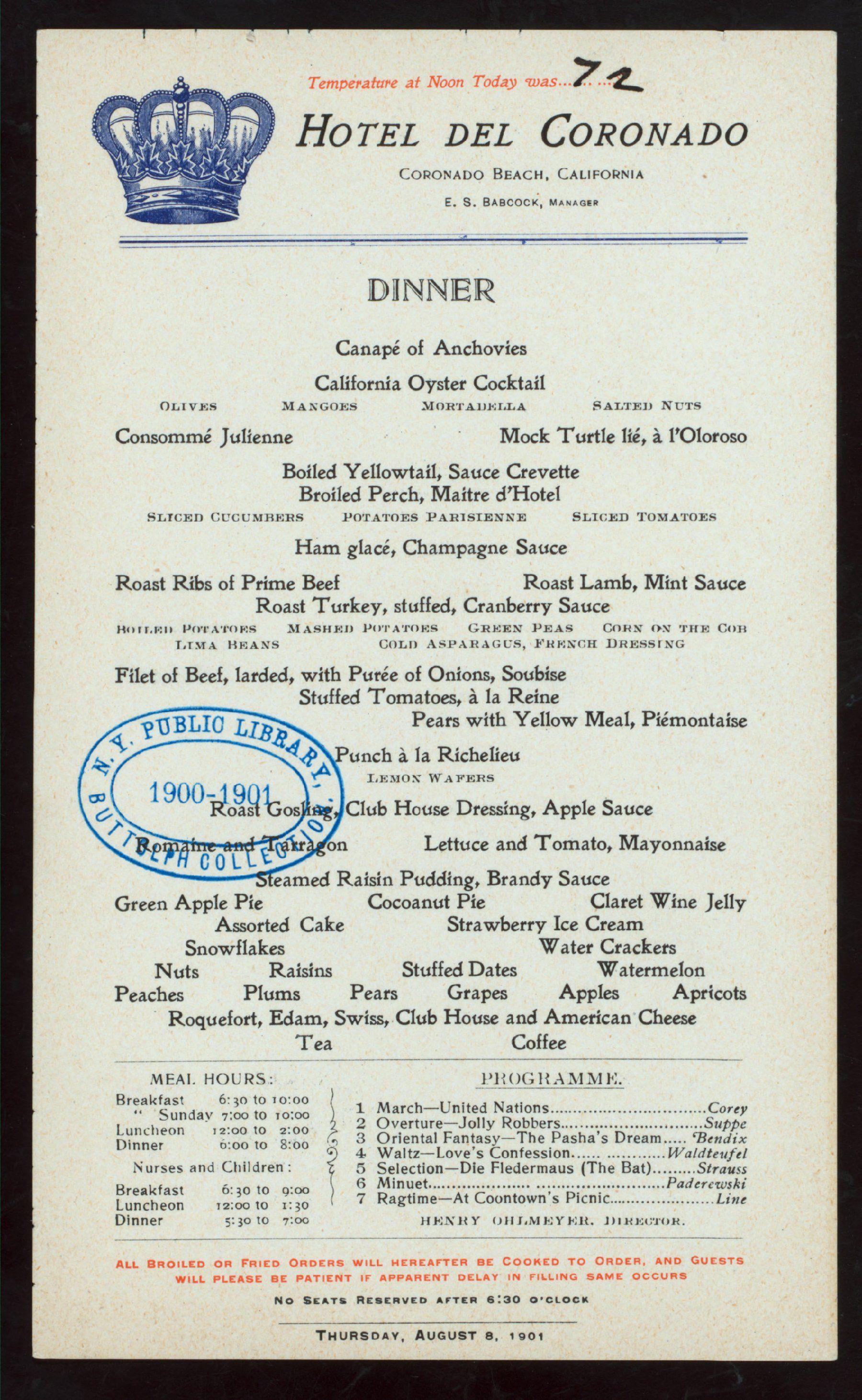 1901 Menu From Hotel Del Coronado Calfornia Vintage Menu Classic Menu Menu Restaurant