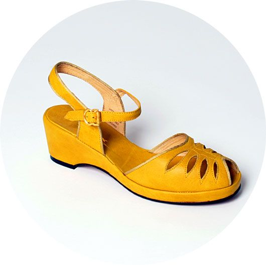 45629be2221db5 ReMix Vintage Shoes Vogue Mustard 1940s wedge sandal. UK stockist in  central London.