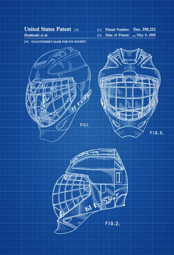 Hockey Goaltender Mask Patent Patent Print Wall Decor Hockey Art