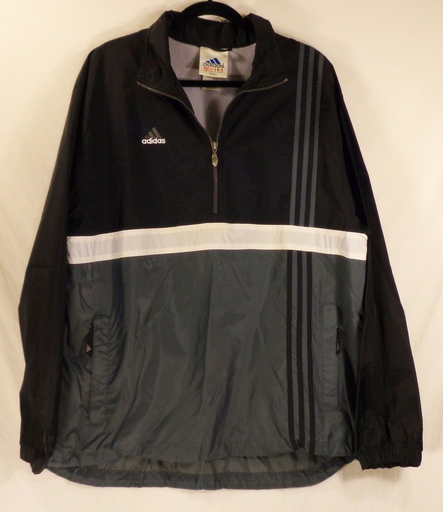 Vintage ADIDAS Windbreaker Jacket Men's Vented Gray Black 3