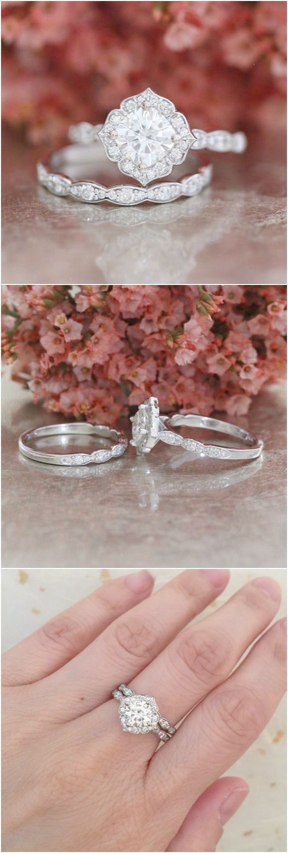 Forever one moissanite engagement ring and scalloped diamond wedding
