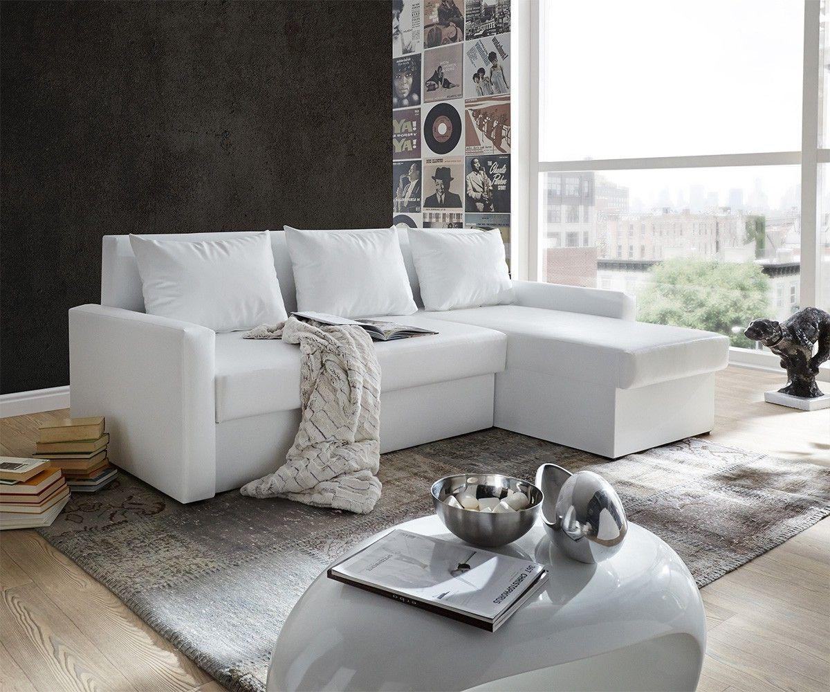 ecksofa avondi 225x145 cm weiss mit schlaffunktion sofatr ume pinterest sofa wei couch. Black Bedroom Furniture Sets. Home Design Ideas