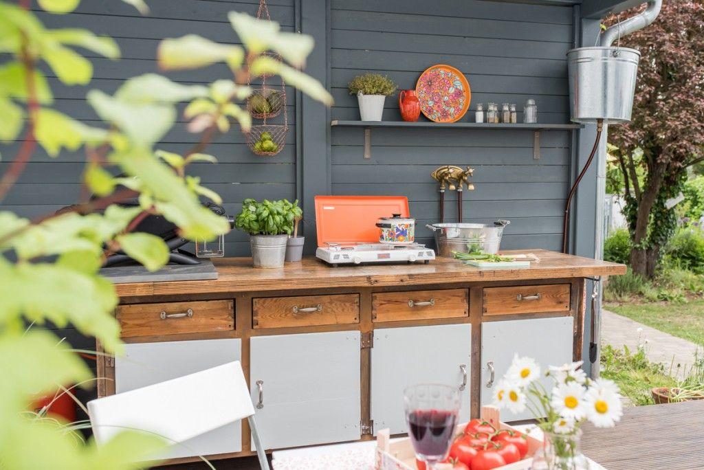 diy - upcycling outdoor Küche aus einer Werkbank | Garden planning ...