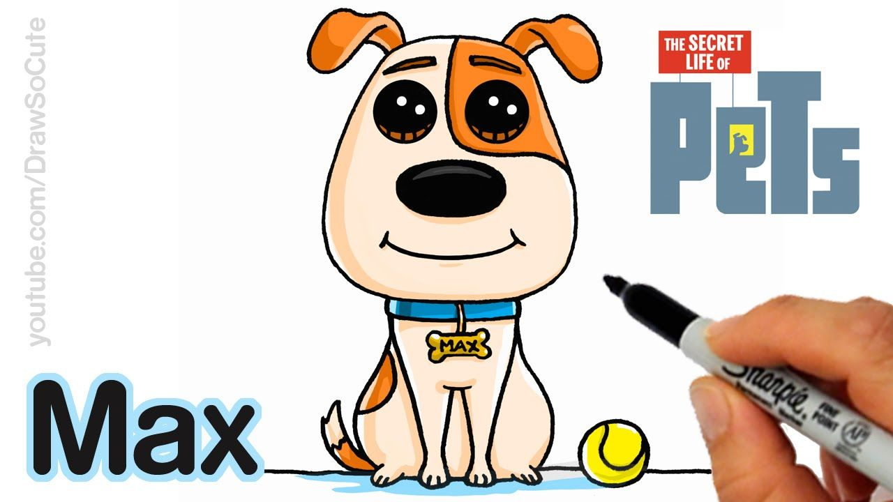 How To Draw Max Easy Step By Step The Secret Life Of Pets Pets Drawing Cute Drawings Easy Disney Drawings