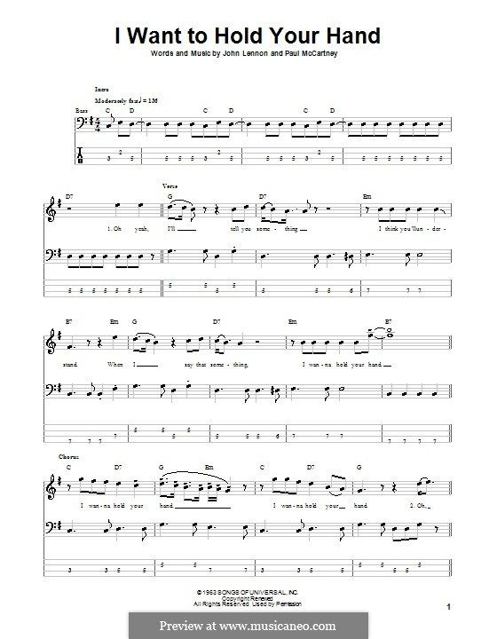 I Want To Hold Your Hand The Beatles For Bass Guitar With Tab By