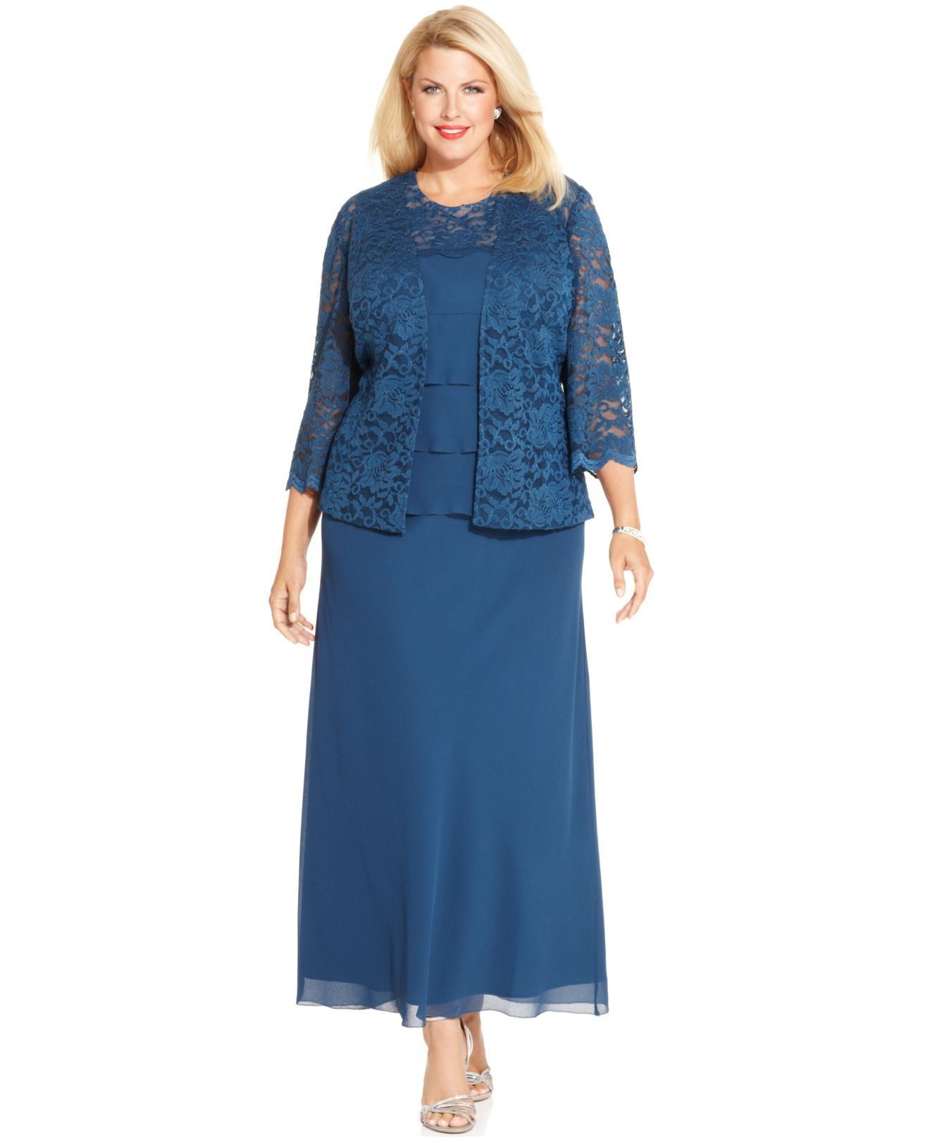 Women's Blue Plus Size Lace Tiered Dress And Jacket | More Tiered ...