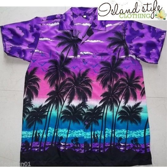 Mens Hawaiian Shirt Palms Summer Luau Party Fancy Dress Colourful New Stag Night