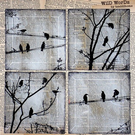 Black Bird Handmade Glass Coaster Set from Upcycled Dictionary page book art – WilD WorDz – Carriers of the Word